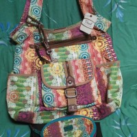 Fossil Bag - canvas ( patchwork pattern floral) large tote