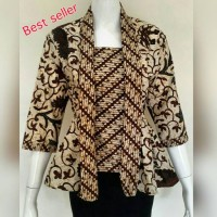 Baju batik wanita model kutu baru sogan/atasan batik wanita
