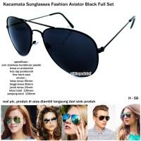 2abfb4a1dd kacamata sunglasses fashion aviator miror full black full set