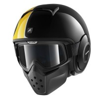 Helm Shark Raw Stripe Black Yellow Glossy Half Full Original