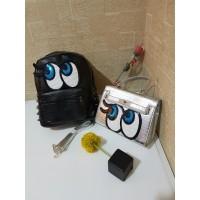 Tas Wanita Import J19429 Black Silver 2in1 Bag Eyes Hermes Ransel