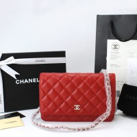 Tas Import Dompet Clutch Chanel WOC Quilted Caviar Merah Silver HW OR