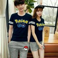 Jual Kaos Couple pokemon go + celana L XL Murah