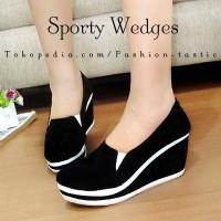 Jual Sepatu Wedges Sneaker SM251 SPORTY WEDGES Hitam Sepatu Casual wanita Murah