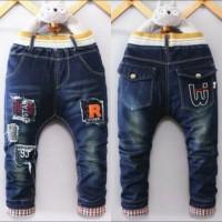 Celana Jeans Panjang Anak Cowok Import Stretch Kantong Kancing