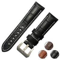 Crocodile Grain Leather Black Tali Jam Tangan Kulit 24mm - PAM Panerai
