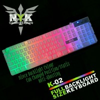 NYK (K02 / K-02) Keyboard Gaming RGB Warna PUTIH / WHITE + 8 Keycaps
