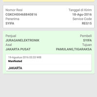 tracking paket atas nama sist Syifa