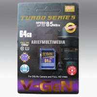 Memori V-gen Turbo Series Sd 64gb Class 10, Speed 85mb / S