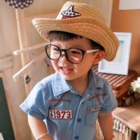 Jual Topi anak Cowboy Hat Kids Fedora Straw Jerami Bintang Star Embroidery Murah