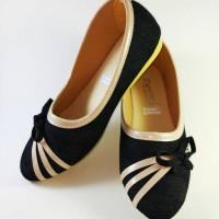 sepatu murah flat shoes pita strip 3 laba-laba warna hitam