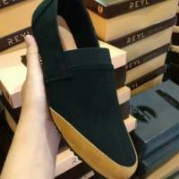 Jual sepatu rileks pria | reyl tone suede black | casual slip on men's Murah