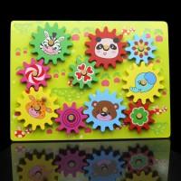 Mainan Kayu Edukatif Anak Puzzle Jigsaw Gear Roda Gerigi Putar ME059
