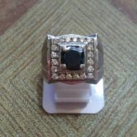 Cincin Perak Berlian Hitam & Berlian Putih