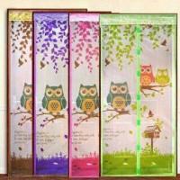 Owl tirai motip burung hantu magnetic magnet curtain anti nyamuk mesh