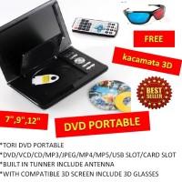 "DVD Portable TORI 7.88"" 3 Dimensi + Kaca Mata + CD 3 Dimensi CIVK"