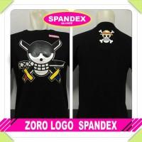kaos spandex hitam zoro logo one piece anime luffy baju distro tshirt