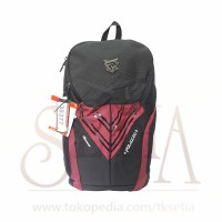Tas Daypack Merk PALAZZO 35377 BLACK RED + Raincover Ransel
