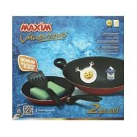 Maxim Teflon Valentino Set - Frypan 22 cm + Wok 30 cm - Merah