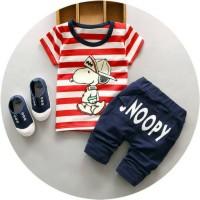 Baju Setelan Anak Cowok | Baju Snoopy Garis Merah | Baju Import Murah