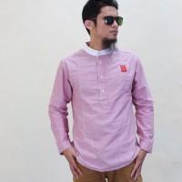 Baju Pria Terkini warna Pink Lengan Panjang Model Samase Busana Muslim