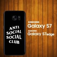 Custom Case Samsung Galaxy S7, S7 Edge anti social social club logo Bl