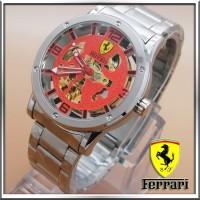 Jual Jam Tangan Ferrari Skeleton Red Dial Silver JM2164 Murah