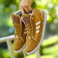 Sepatu adidas neo high warna tan gaya fashion bahan suede