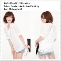 harga Blouse Kemeja Hem Atasan Baju Wanita Korea Import Putih White Crochet Tokopedia.com