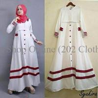 syakira putih / dress putih / gamis putih / baju menyusui / long S5UO