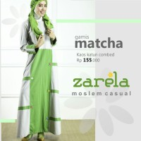 Gamis Busana Muslim Kaos Long Dress Zarela Matcha