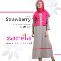 Gamis Busana Muslim Kaos Long Dress Zarela Strawberry