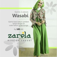 Gamis Busana Muslim Kaos Long Dress Zarela Wasabi
