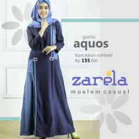 Gamis Busana Muslim Kaos Long Dress Zarela Aquos