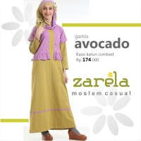 Gamis Busana Muslim Kaos Long Dress Zarela Avocado