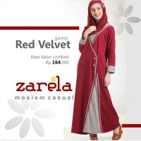 Gamis Busana Muslim Kaos Long Dress Zarela Red Velvet