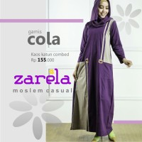 Gamis Busana Muslim Kaos Long Dress Zarela Cola