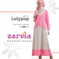 Gamis Busana Muslim Kaos Long Dress Zarela Lolypop