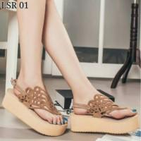 harga Sepatu Sendal Wedges Wanita Suede Tali Batik Tokopedia.com