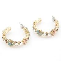 NA317 anting korea jepit wanita import huggie earrings crystal circle