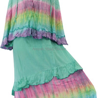 Kampung Souvenir Gamis Rainbow Alisia Set with Hijab - Turquoise BC1N