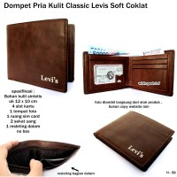 dompet pria kulit glosy lvs stand brown impor
