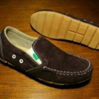 Sepatu Slop Kickers Leather Suede Brown Murah
