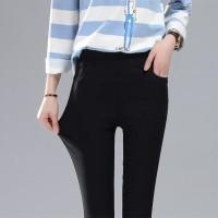 Jual Jeans semi Celana Panjang Wanita Hitam stretch jegging grosir pants Murah