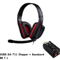 SADES SA-711 (CHOPPER) GAMING HEADSET + USB SC 7.1