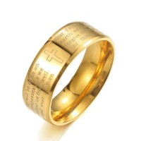 Cincin Doa Bapa Kami Stainless Steel Sepuh Emas