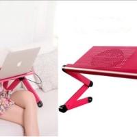 Meja Laptop Notebook Portable Aluminium with Cooler Big Fan Mousepad