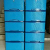 Jual lemari pakaian murah motif rotan 1 -  biru Murah