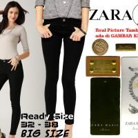 Jual Celana Soft Jeans ZARA BLACK / HITAM Skinny WANITA GROSIR BIG SIZE Murah