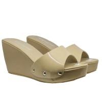 harga New Arrival, Khalista Collection,Sendal Wedges Varo Strap Glossy Cream Tokopedia.com